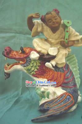 Chinese Porcelain Figurine_Statue from Shi Wan-Flying on Dragon