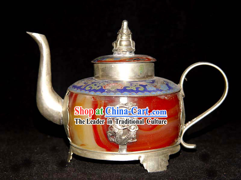 Rare Chinese Chicken Blood Jade Silver and Cloisonne Flagon