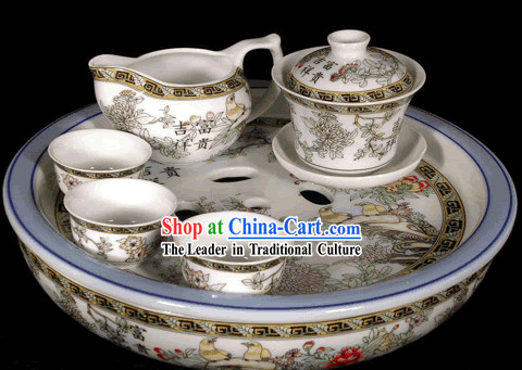Riches and Honour Kungfu Jingde Town Porcelain Tea Set_11 pieces_