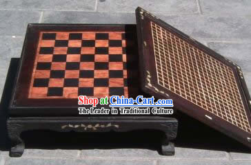 Antique International Chess, Chinese Chess and I-go Rosewood Desk