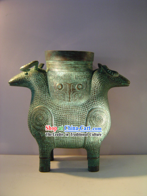 China Classic Archaize Bronze Ware-Palace Double Sheep Statue