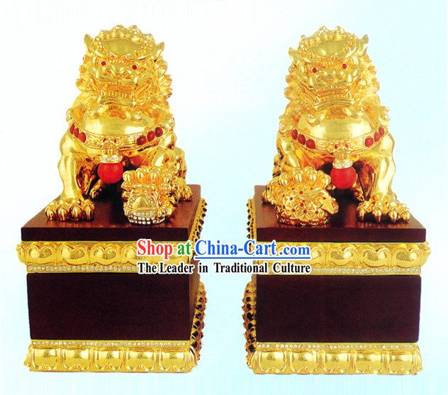 China Stunning Gold Gate Lion Pair
