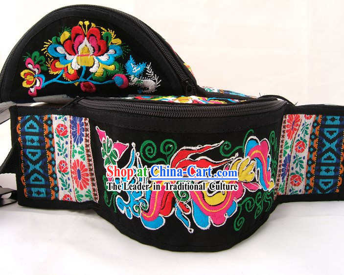 Chinese Classic Hand Made Embroidery Waist Pack-Flower Times