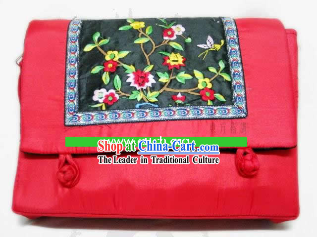 Chinese Classic Lucky Red Handmade Embroidery Silk Bag
