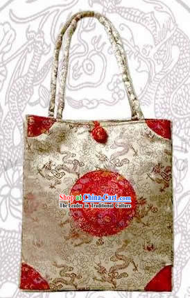 Chinese Handmade Noble Dragons Silk Bag