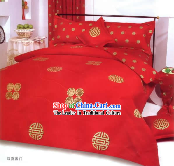 China Classic Red Double Happiness Six Pieces Bed Set