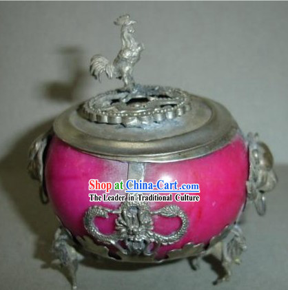 Chinese Pink Palace Style Silver and Jade Censer