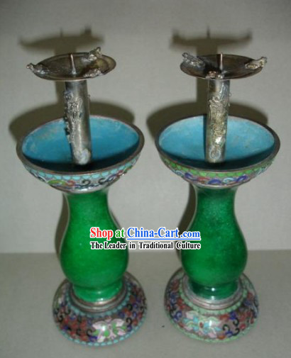 A Pair of Chinese Ancient Palace Green Jade Cloisonne Candleholder