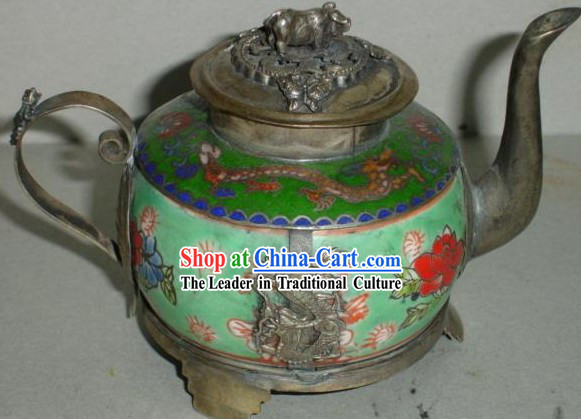 Chinese Classic Dragon Jade and Silver Kettle