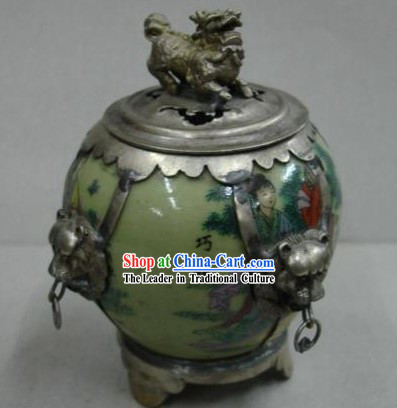 Chinese Qiao Niang Jade and Silver Censer