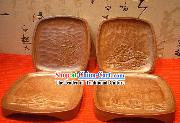 Chinese Hand Made Wooden Tablemat Set (4 Pieces)