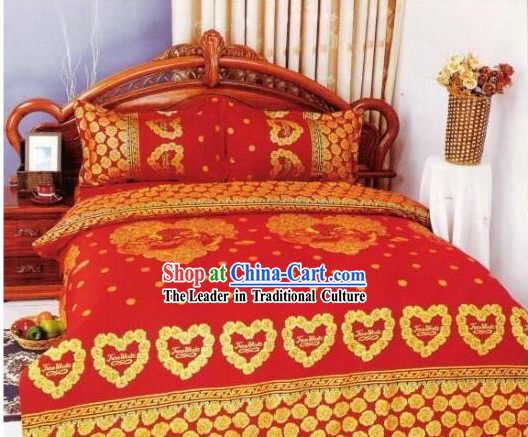 Chinese Classical Cotton Wedding Bed Sheet Set_Four Pieces_-Lover