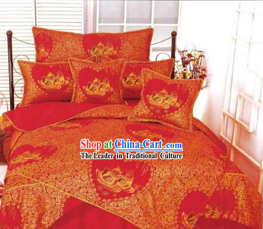 Chinese Classical Cotton Wedding Bed Sheet Set(Four Pieces)-Mandarin Duck