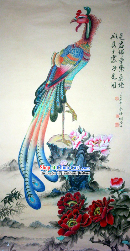 Chinese Traditional Painting with Meticulous Detail-Peony and Phoenix