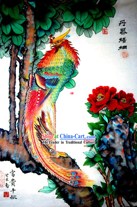 Chinese Traditional Painting with Meticulous Detail-Lucky Phoenix