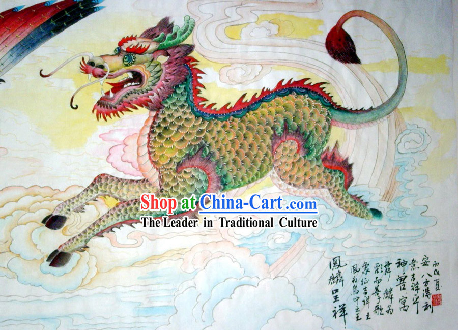 Chinese Traditional Painting with Meticulous Detail Painting-Lucky Kylin
