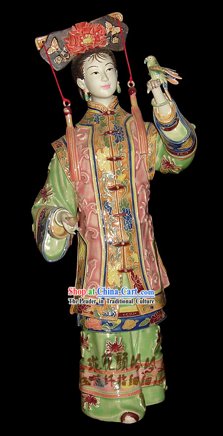Chinese Stunning Porcelain Collectibles-Ancient Maiden with Bird