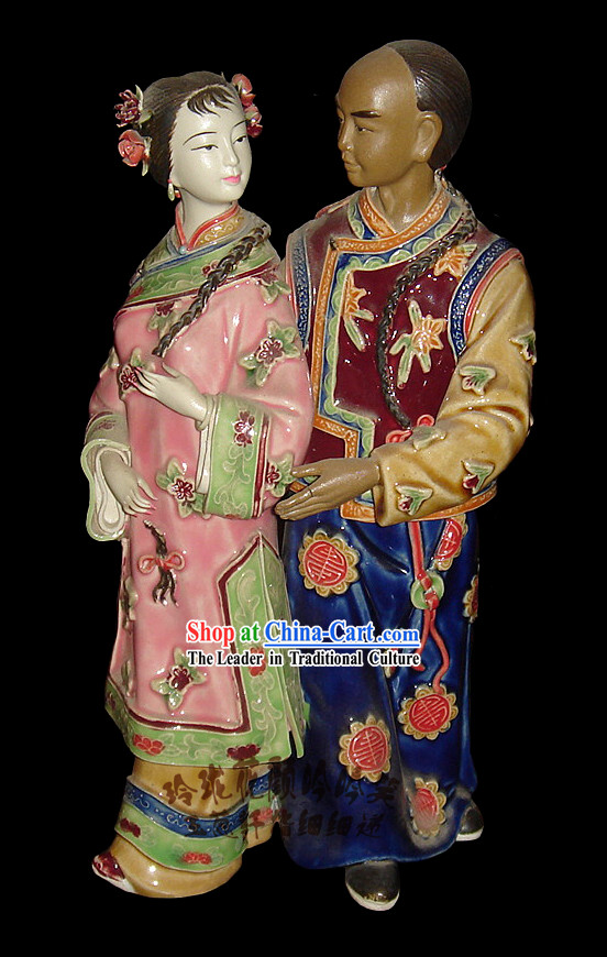 Chinese Stunning Colourful Porcelain Collectibles-Ancient Couple In Love