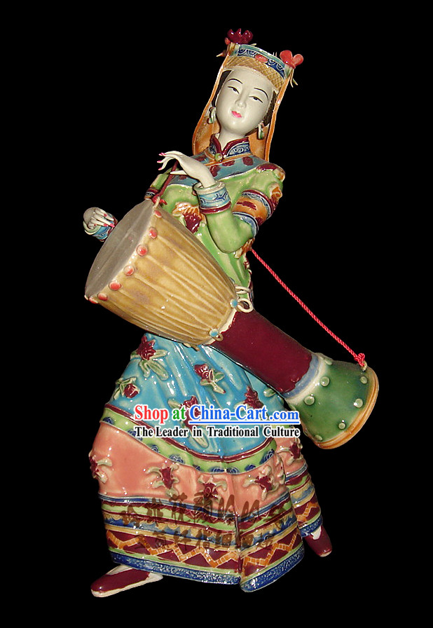 Chinese Stunning Colourful Porcelain Collectibles-Ancient Minority Woman Playing Drum