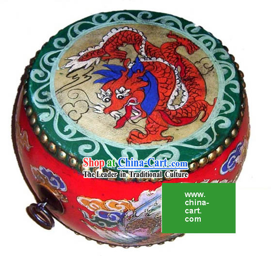 Chinese Coloured Drawing Riches and Honours Peony Tang Gu_Drum_