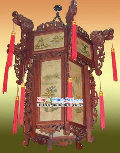 Chinese Classical Two Layers Hand Painted and Carved Palace Landscape Lantern