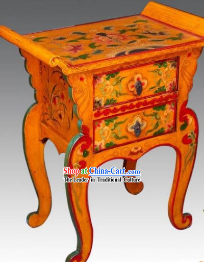 Chinese Coloured Painting Double Drawers Phone Table