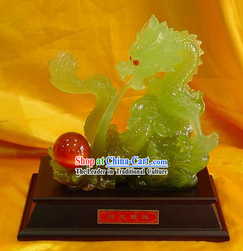Chinese Stunning Jade Collection-Dragon Emperor Playing Ball