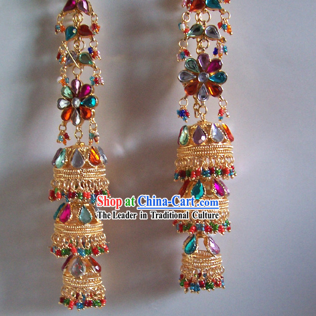 Indian Classical Long Three Layers Jewelry Earrings