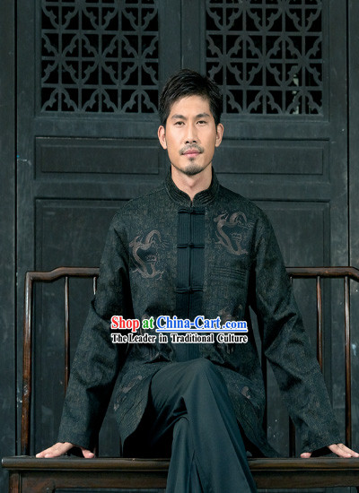 Chinese Classical Traditional Mandarin Blouse for Man-Brave Dragon