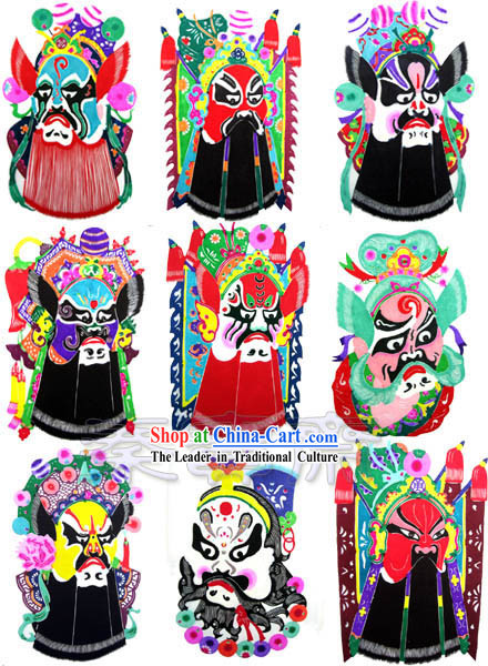 Chinese Paper Cuts-Opera Masks_9 pieces set_