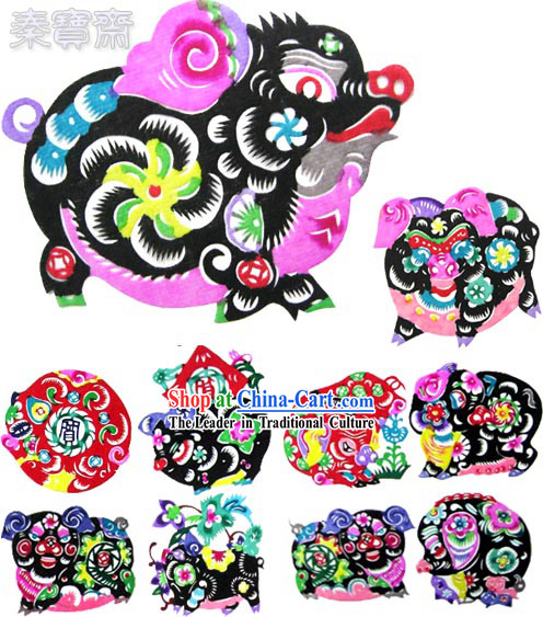 Chinese Paper Cuts-Lucky Pigs_10 pieces set_