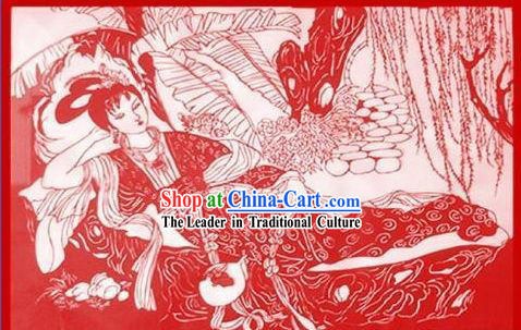 Chinese Large Paper Cuts Classics-Xiang Yun Got Drunk