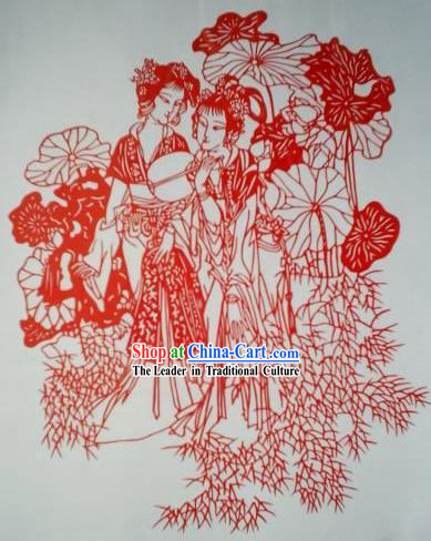 Chinese Paper Cuts Classics-Beautiful Ancient Women Besides Lotus