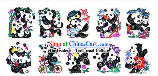 Chinese Paper Cuts Classics-Lovely Pandas _10 pieces set_