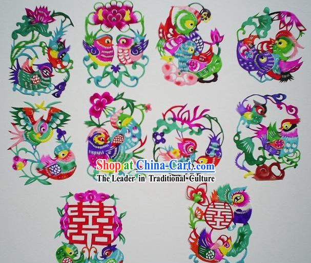 Chinese Paper Cuts Classics-Mandarin Ducks _10 pieces set_