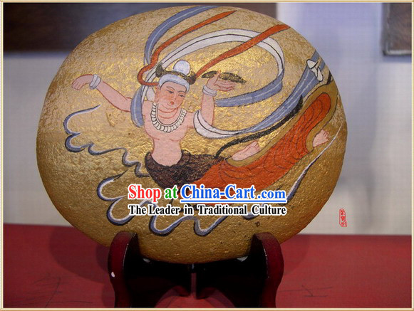 Chinese Dunhuang Hand Painted Cobblestone Mural Art-Flying Fairy
