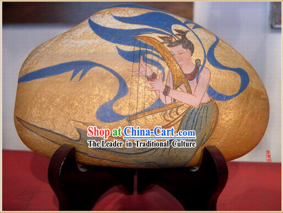 Chinese Dunhuang Hand Painted Cobblestone Mural Art-Playing Harp