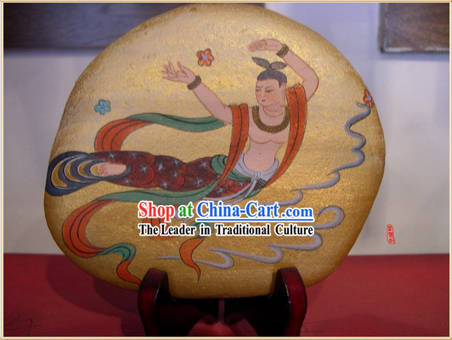 Chinese Dunhuang Hand Painted Cobblestone Mural Art-Chang E