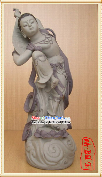 China Dunhuang Handicraft Statue-Playing Lute on the Back