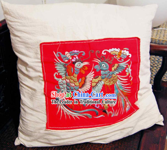 Chinese Lucky Red Phoenix Pair Silk Cushion