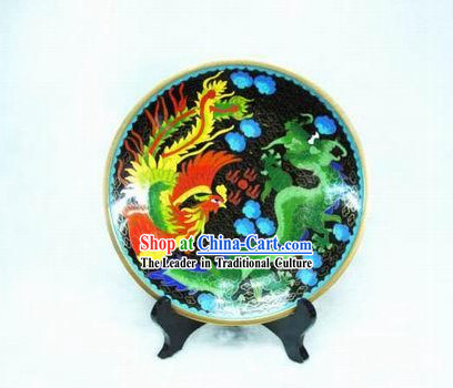 Chinese Dragon And Phoenix Cloisonne Plate