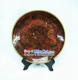 Chinese Ancient Style Dragon Pair Closionne Plate