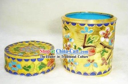 Chinese Cloisonne Tea Caddy-Flowery