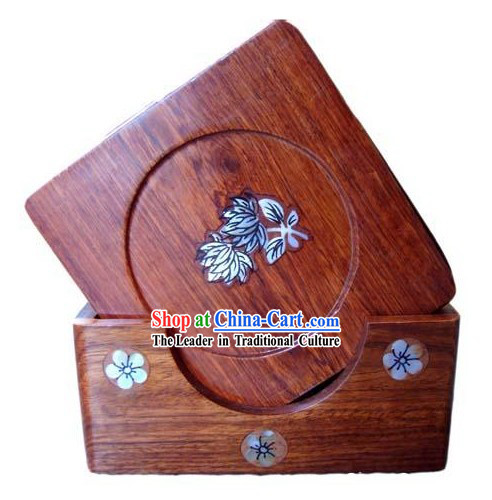 Chinese Hand Carved Natural Rose Wood Tablemats Set (6 Pieces)