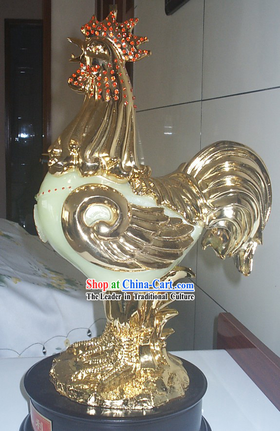 Chinese Jade Diamond Lucky Chicken Handicraft Article