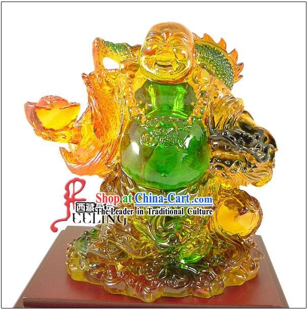 Tibetan Stunning Coloured Glaze-Maitreya with Dragon