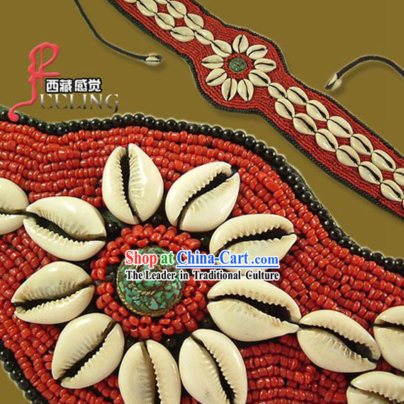 Tibetan 100% Hand Made Red Coral Kallaite Decoration Belt