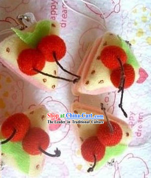 Cute Hand Made Velvet Pendant Cherry Cake