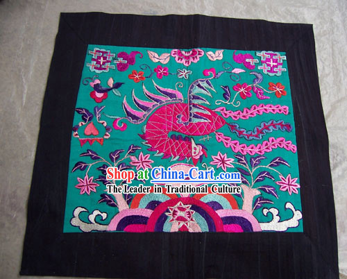 Chinese Stunning Miao Tribe Hand Embroidery Collectible-Peacock Flake