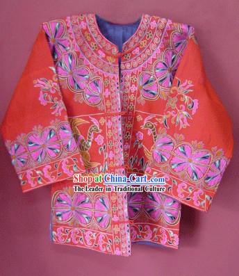 Chinese Stunning Miao Minority Silk Thread Hand Embroidery Dress